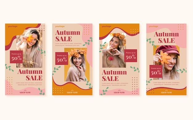Collection d'histoires instagram de vente d'automne plat avec photo