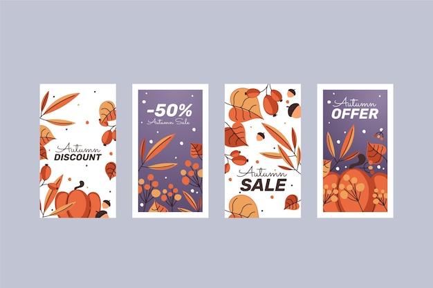 Collection d'histoires instagram de vente d'automne plat