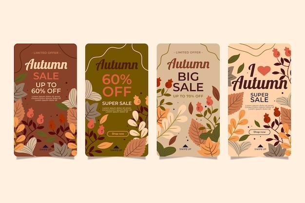 Collection d'histoires instagram de vente d'automne
