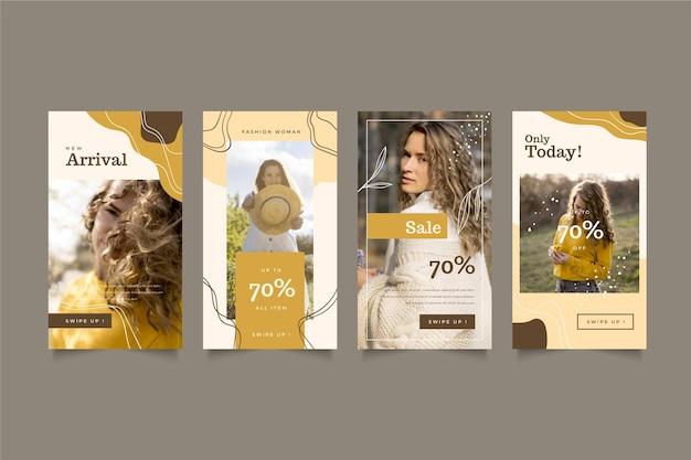 Collection d'histoires instagram de vente biologique