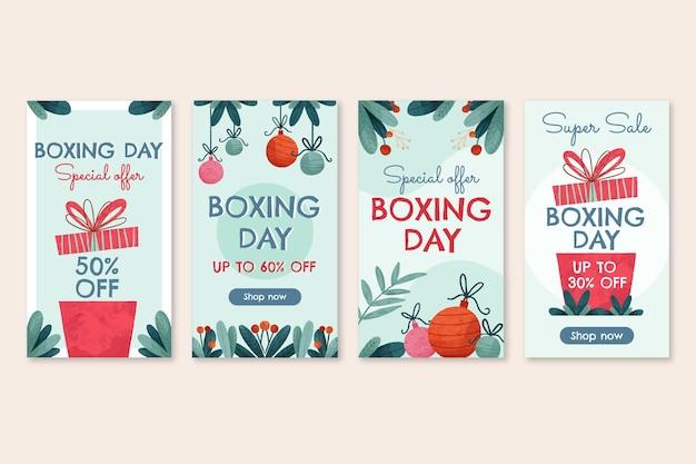 Collection d'histoires instagram de vente de boxe aquarelle