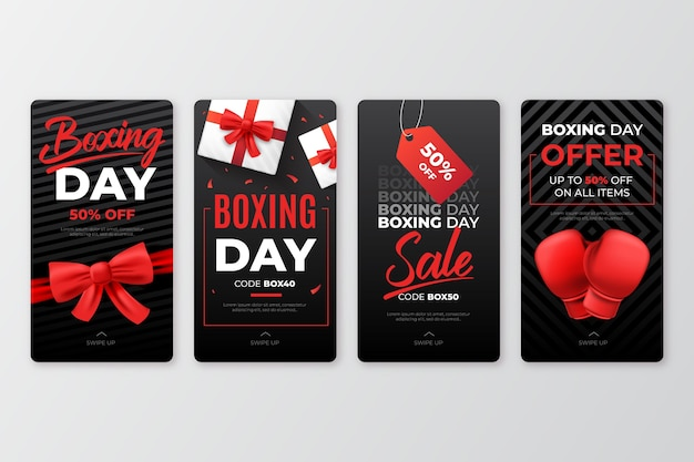 Collection d'histoires instagram de vente de boxe day