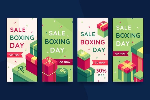Collection d'histoires instagram de vente de boxe isométrique