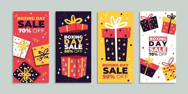 Collection d'histoires instagram de vente de boxe plat dessinés à la main