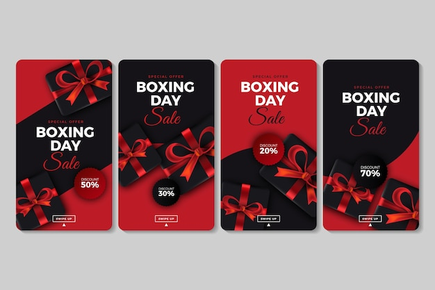 Collection d'histoires d'instagram de vente de boxing day