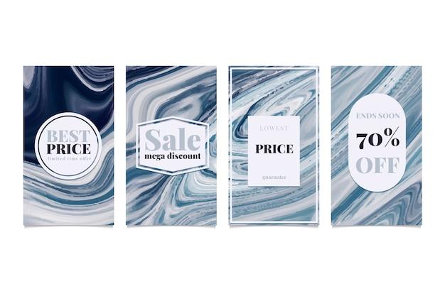 Collection d'histoires instagram de vente dans le concept de style marbre