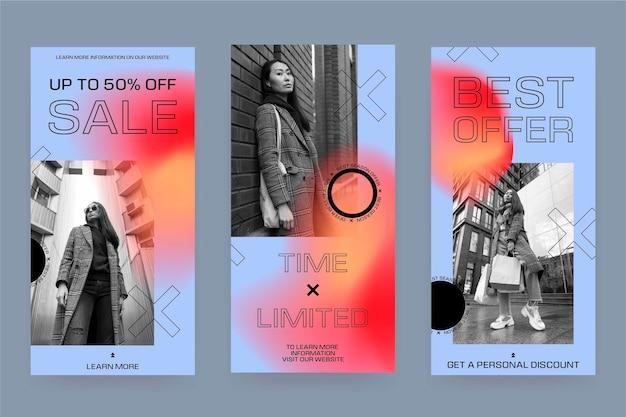 Collection d'histoires instagram de vente de dégradé