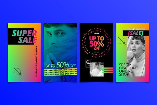 Collection d'histoires instagram de vente dégradée avec photo