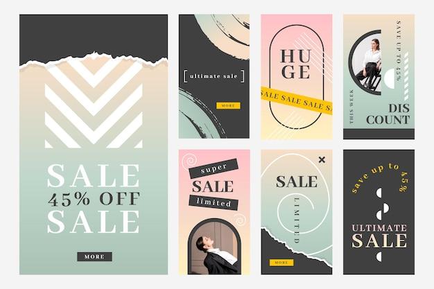 Collection d'histoires instagram de vente dégradée