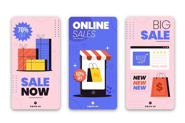 Collection d'histoires instagram de vente de design plat