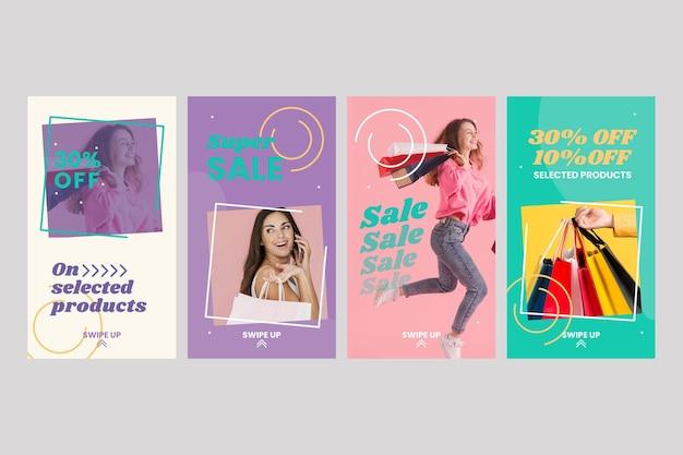 Collection d'histoires instagram de vente dessinée à la main avec photo