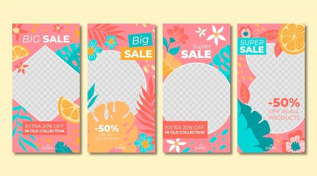 Collection d'histoires instagram de vente dessinée à la main