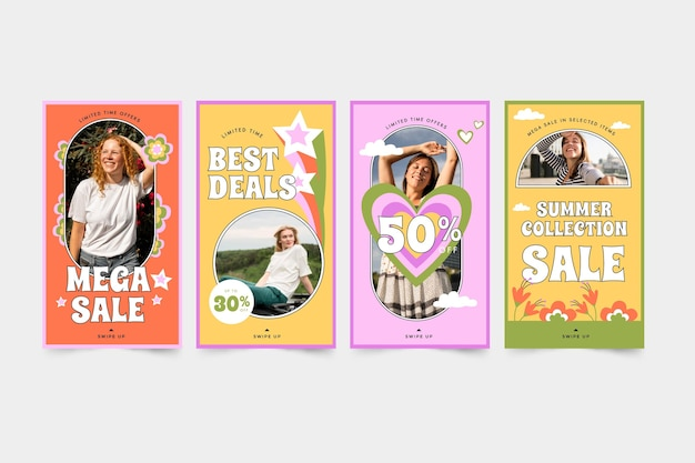 Collection d'histoires instagram de vente groovy dessinée à la main
