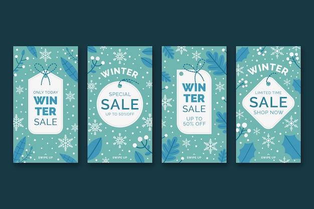 Collection d'histoires instagram de vente d'hiver plat dessiné à la main