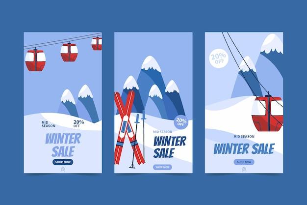 Collection d'histoires instagram de vente d'hiver à plat dessinée à la main avec téléphérique et skis