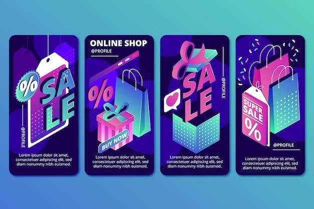 Collection d'histoires instagram de vente isométrique