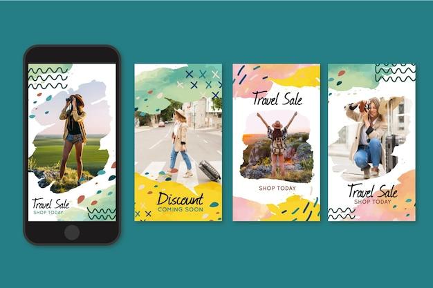 Collection d'histoires instagram de vente itinérante
