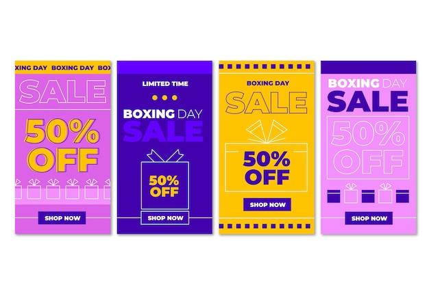 Collection d'histoires instagram de vente de lendemain de noël à plat