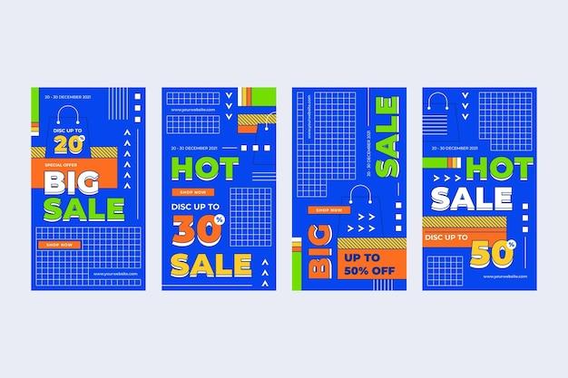 Collection d'histoires instagram de vente linéaire