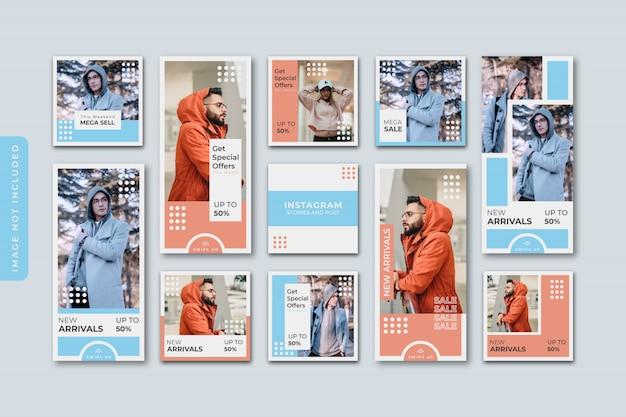 Collection d'histoires instagram de vente de mode abstraite.