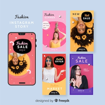Collection d'histoires d'instagram de vente de mode avec la photo