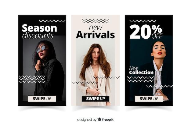 Collection d'histoires d'instagram de vente de mode