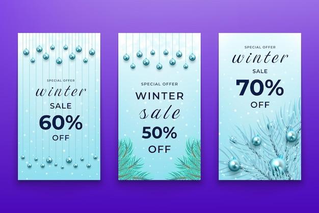 Collection d'histoires instagram de vente de noël d'hiver