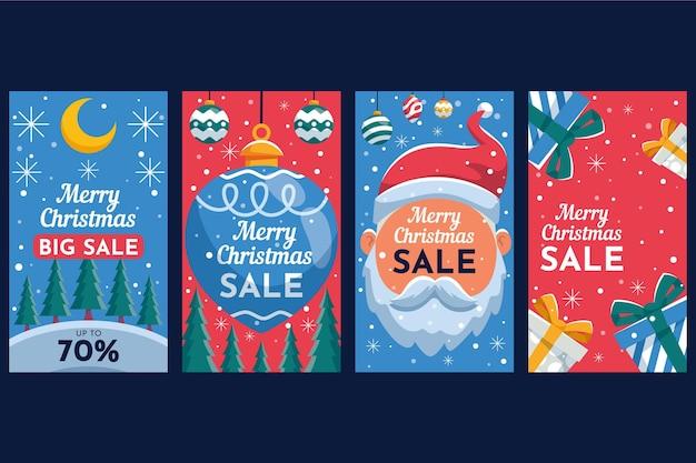Collection d'histoires instagram de vente de noël