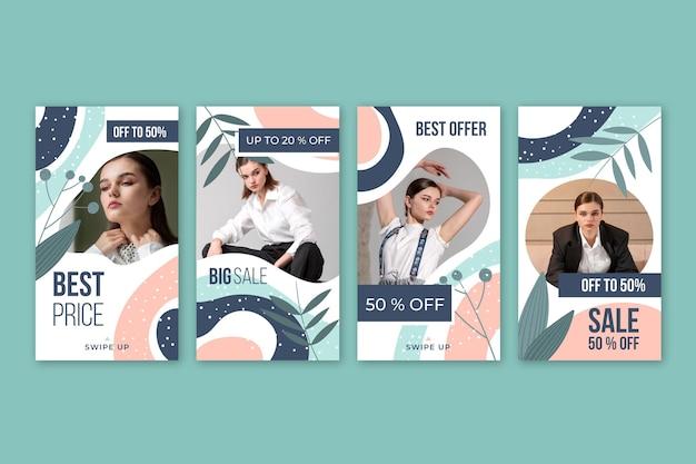 Collection d'histoires instagram de vente avec photo