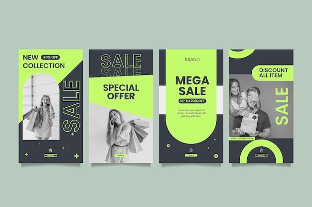 Collection d'histoires instagram de vente à plat avec photo