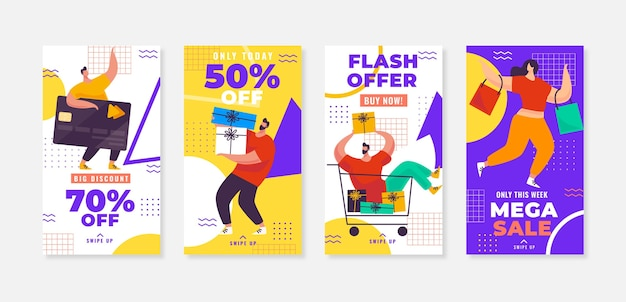 Collection d'histoires instagram de vente à plat
