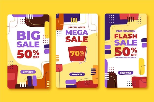Collection d'histoires instagram de vente plate dessinée à la main