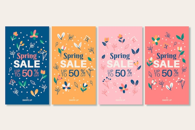 Collection d'histoires instagram de vente de printemps