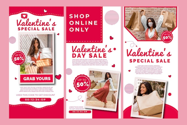 Collection d'histoires instagram de vente de la saint-valentin