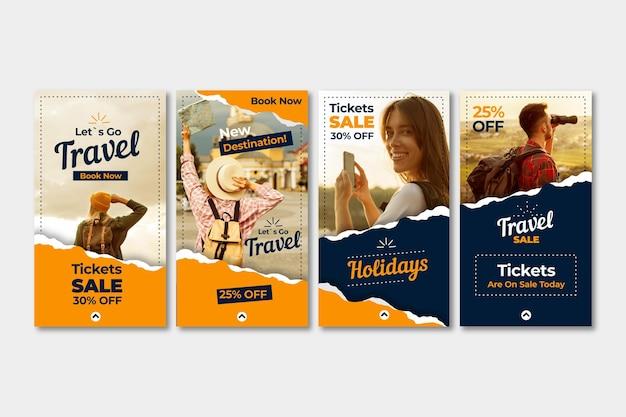 Collection d'histoires instagram de vente de voyage