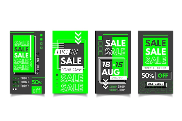 Collection d'histoires instagram sur les ventes d'acide