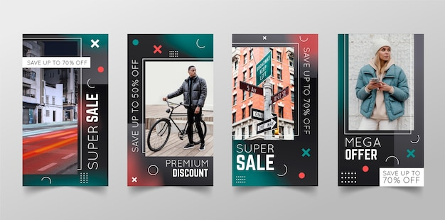 Collection d'histoires instagram de ventes dégradées