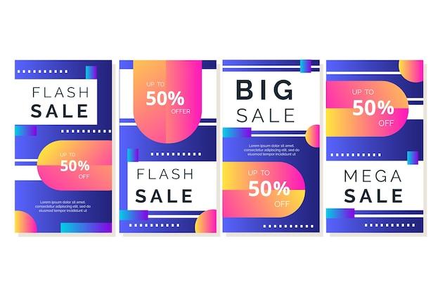 Collection d'histoires instagram avec les ventes