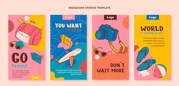 Collection d'histoires instagram de voyage dessinées à la main