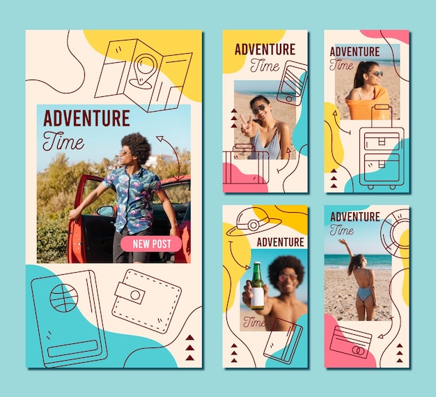 Collection d'histoires instagram de voyage dessinés à la main