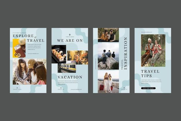 Collection d'histoires instagram de voyage plat