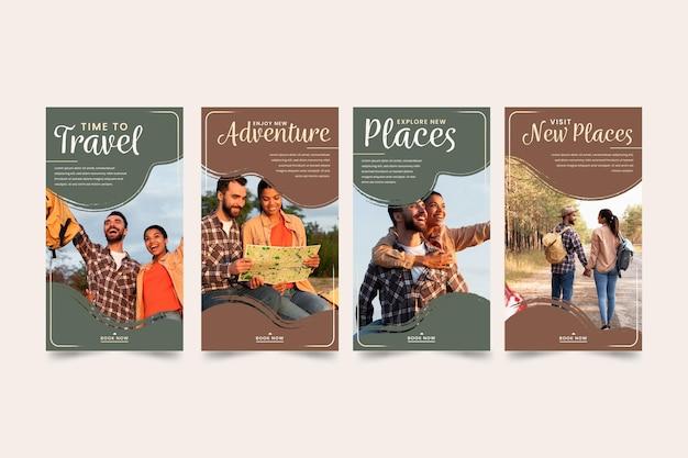 Collection D'histoires Instagram De Voyage Vecteur gratuit