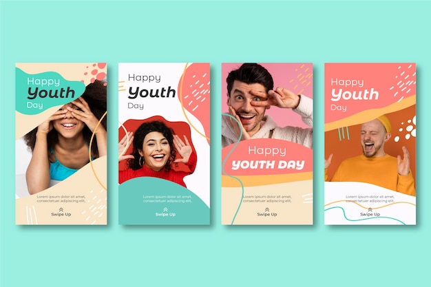 Collection d'histoires de la journée internationale de la jeunesse dessinée à la main avec photo