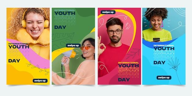 Collection d'histoires de la journée internationale de la jeunesse dessinée à la main