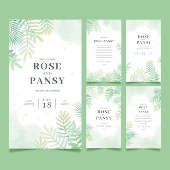 Collection d'histoires de mariage floral instagram