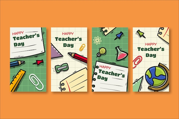 Collection d'histoires sur les médias sociaux pour la journée des enseignants