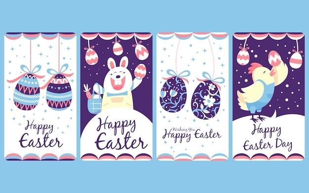 Collection d'histoires de pâques instagram poule et lapin