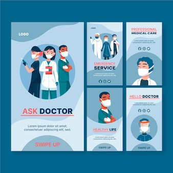 Collection d'histoires de soins de santé instagram