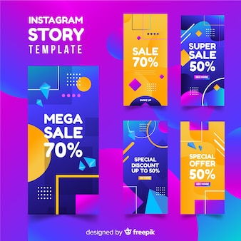 Collection d'histoires de vente abstraites instagram