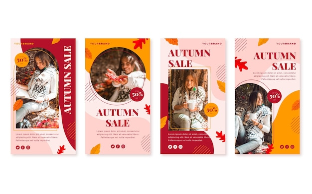 Collection d'histoires de vente instagram d'automne plat